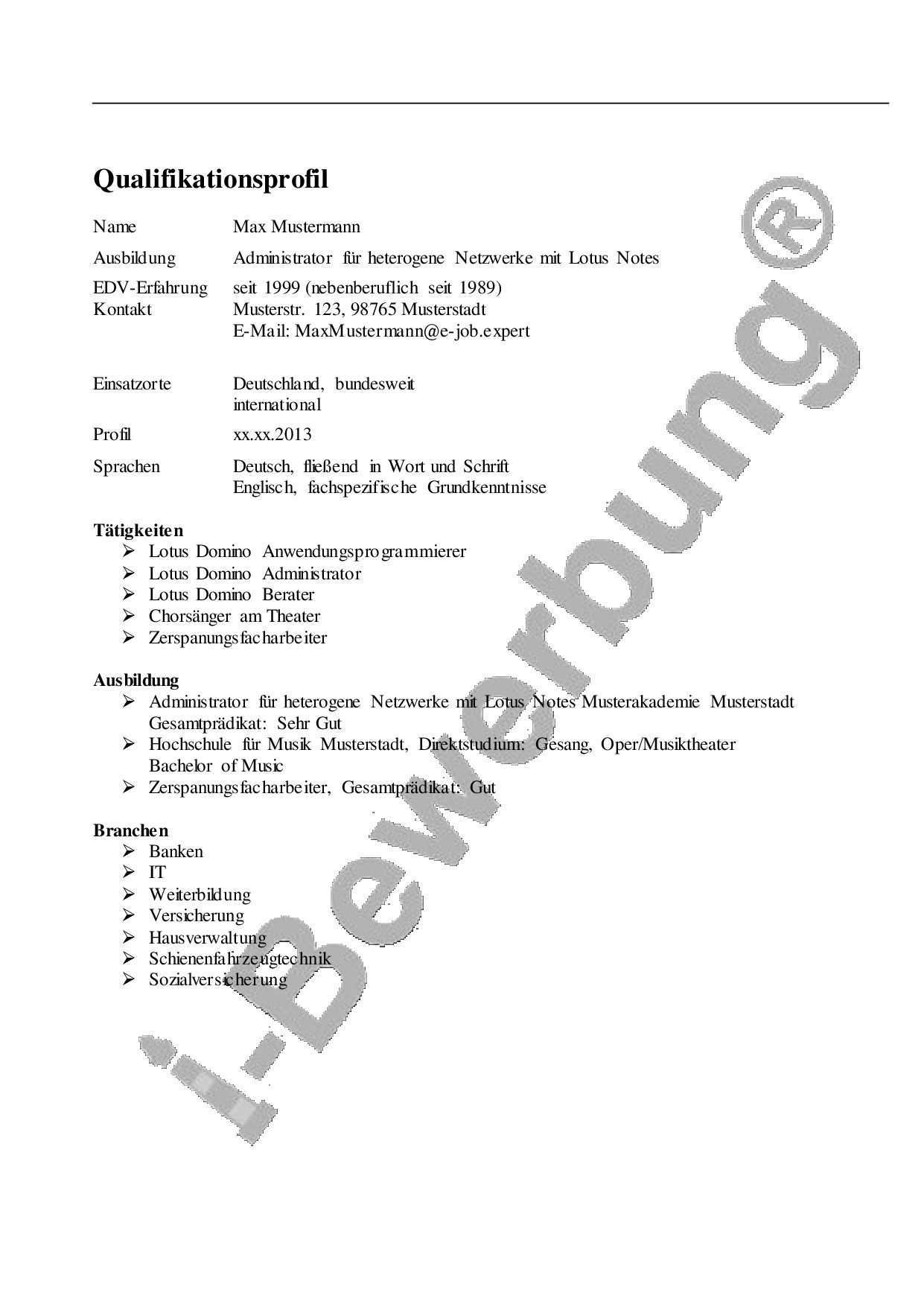 Initiativbewerbung Als Anwendungsprogrammierer Qualifikationsprofil Bewerbung Profil Grundkenntnisse