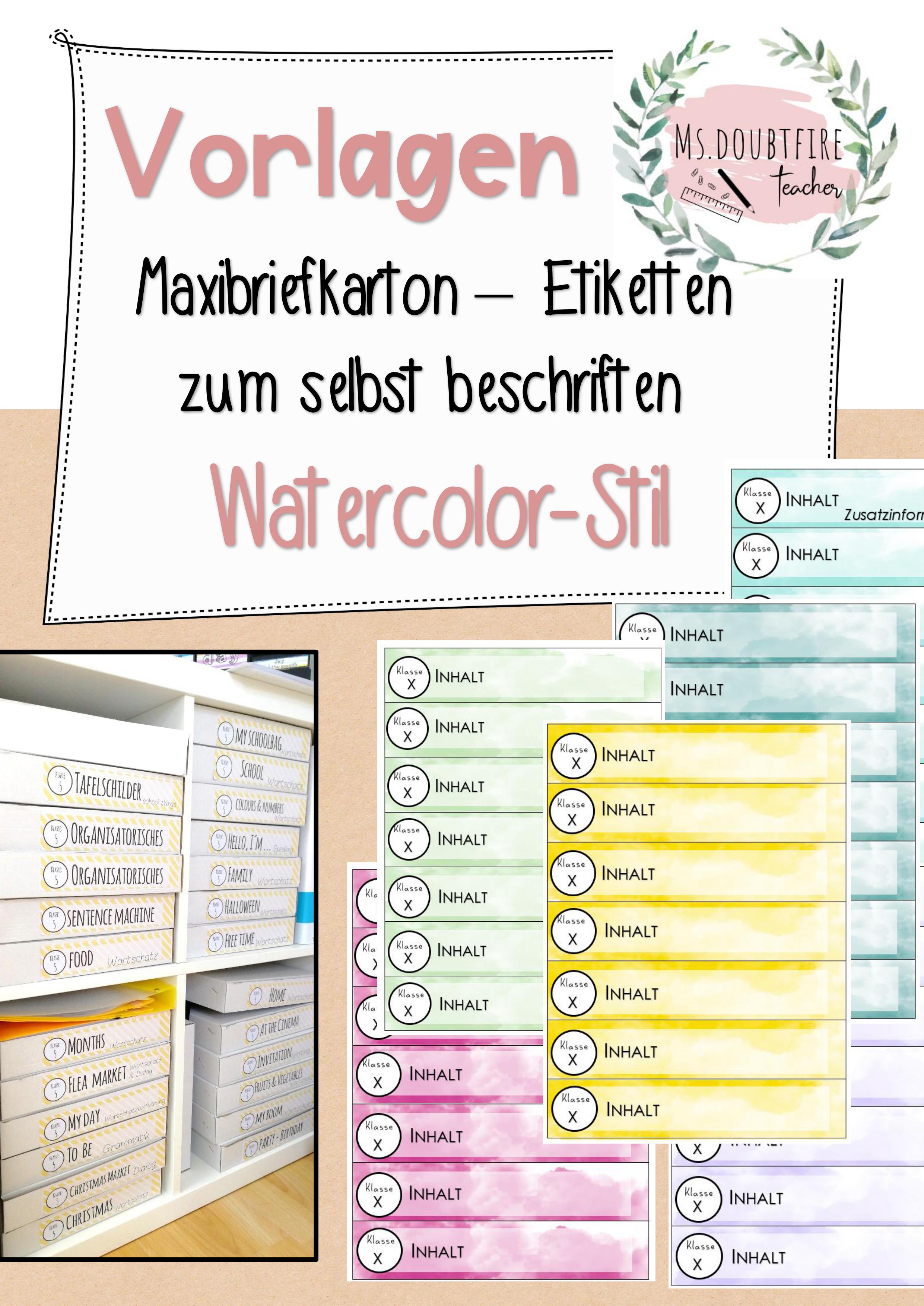 Etiketten Maxibriefkartons Watercolor Stil 7 Vorlagen Zum Selbst Beschriften Unterrichtsmaterial Im Fach Fachubergreifendes Brief Vorlagen Karton