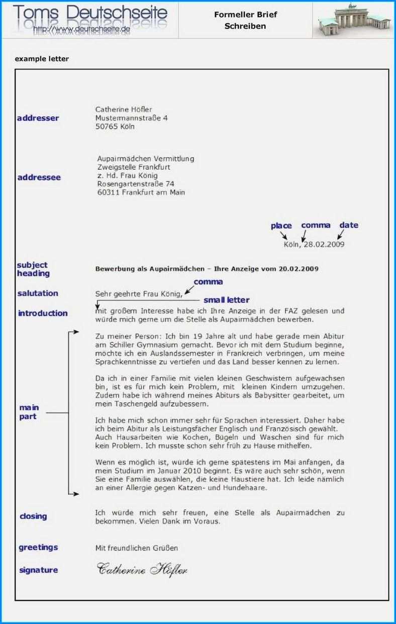 Formal Brief Schreiben Auf Deutsch Briefe Schreiben Brief Lebenslauf Beispiele