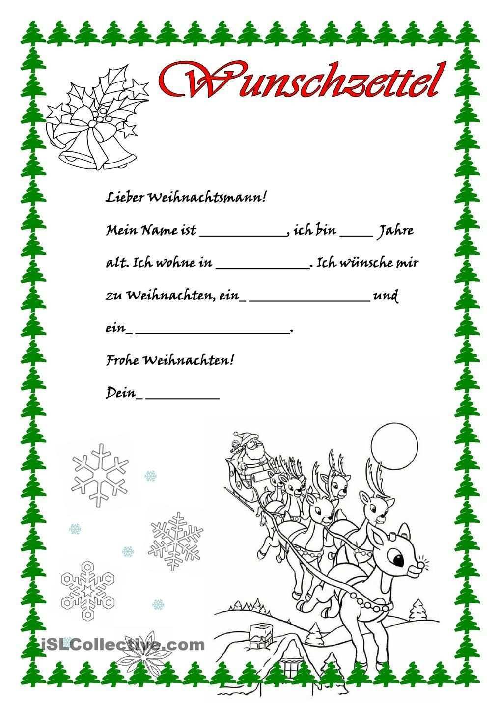 Wunschzettel Wunschzettel Brief Vom Weihnachtsmann Brief An Weihnachtsmann