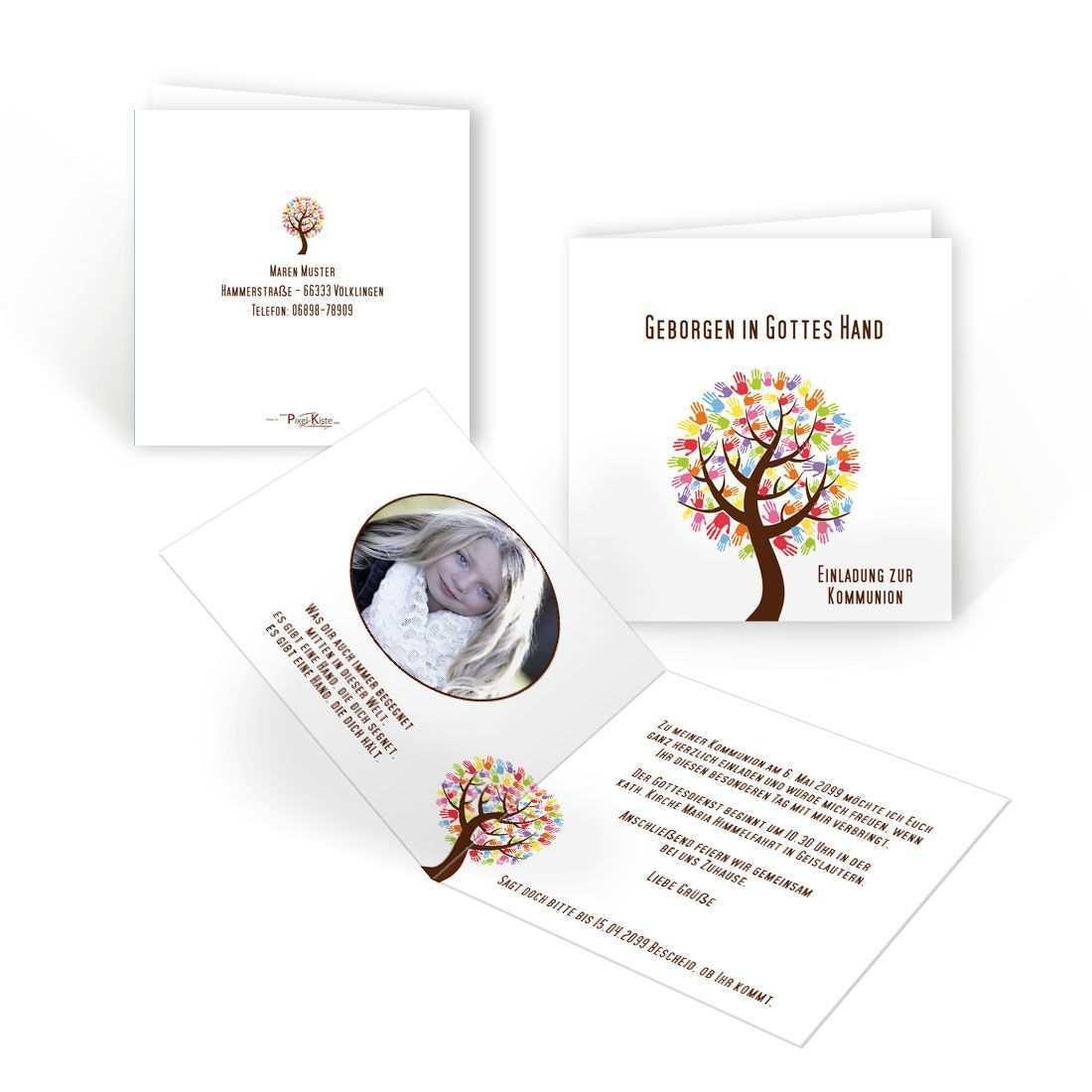 Einladung Erstkommunion Baum Mit Handen Erstkommunion Kommunion Einladungen