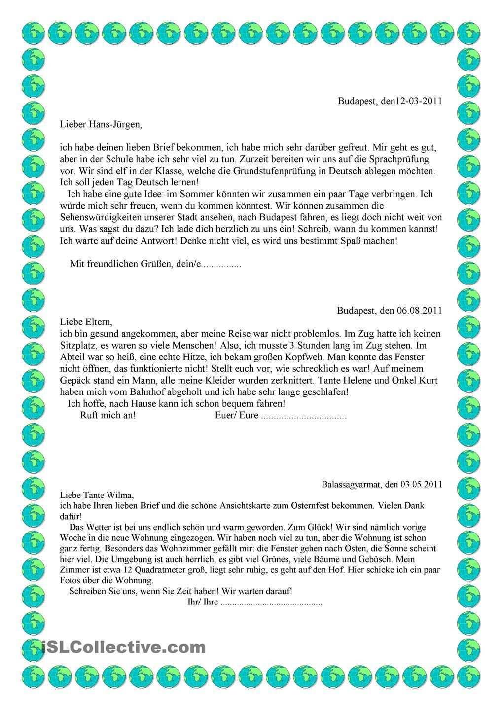 Brief B1 Deutsch Schreiben Lernen Briefe Schreiben Sms Schreiben