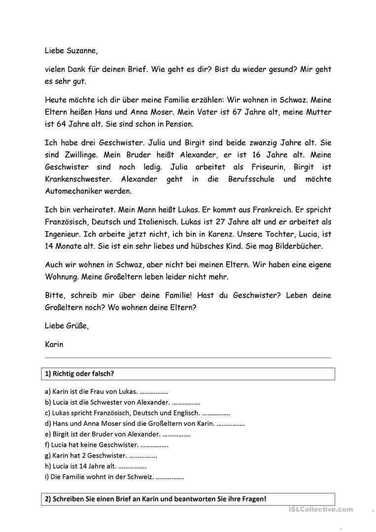 Brief Thema Familie Deutsch Lernen Brief Deutsch Deutsch Schreiben