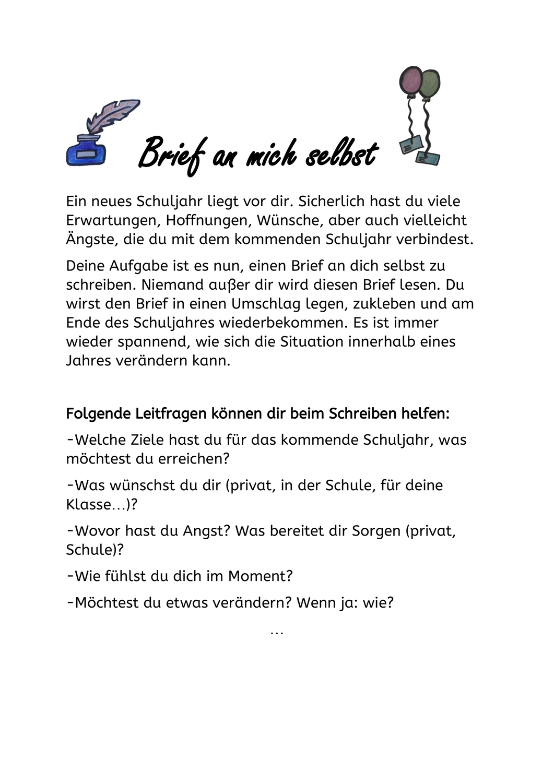 Brief An Mich Selbst Unterrichtsmaterial In Den Fachern Deutsch Fachubergreifendes Briefe Lesen Lernen Religionsunterricht