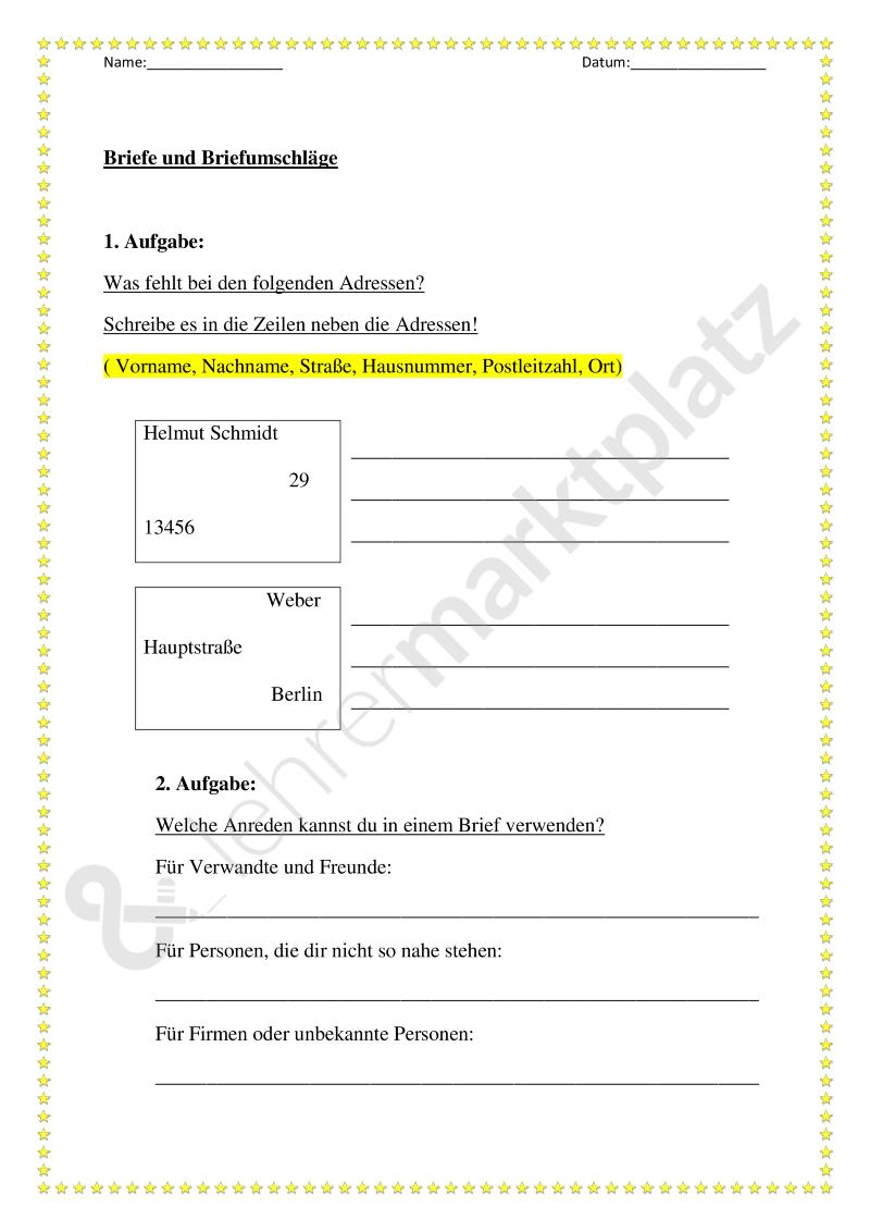 Thema Brief Briefumschlag Unterrichtsmaterial Im Fach Deutsch Brief Briefumschlag Umschlag