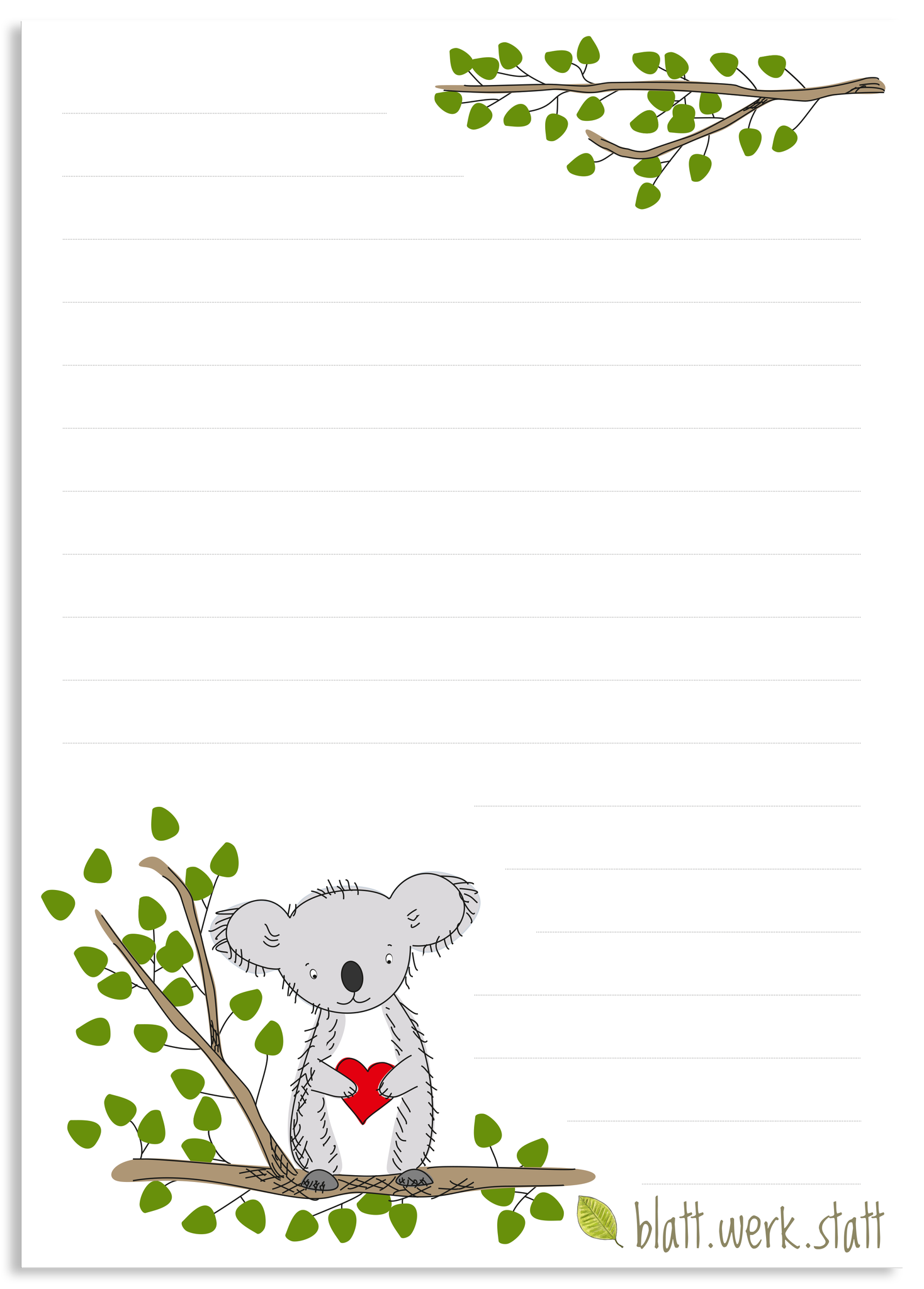 Briefpapier Koala Briefbogen A4 Briefpapier Briefpapier Kinder Papier