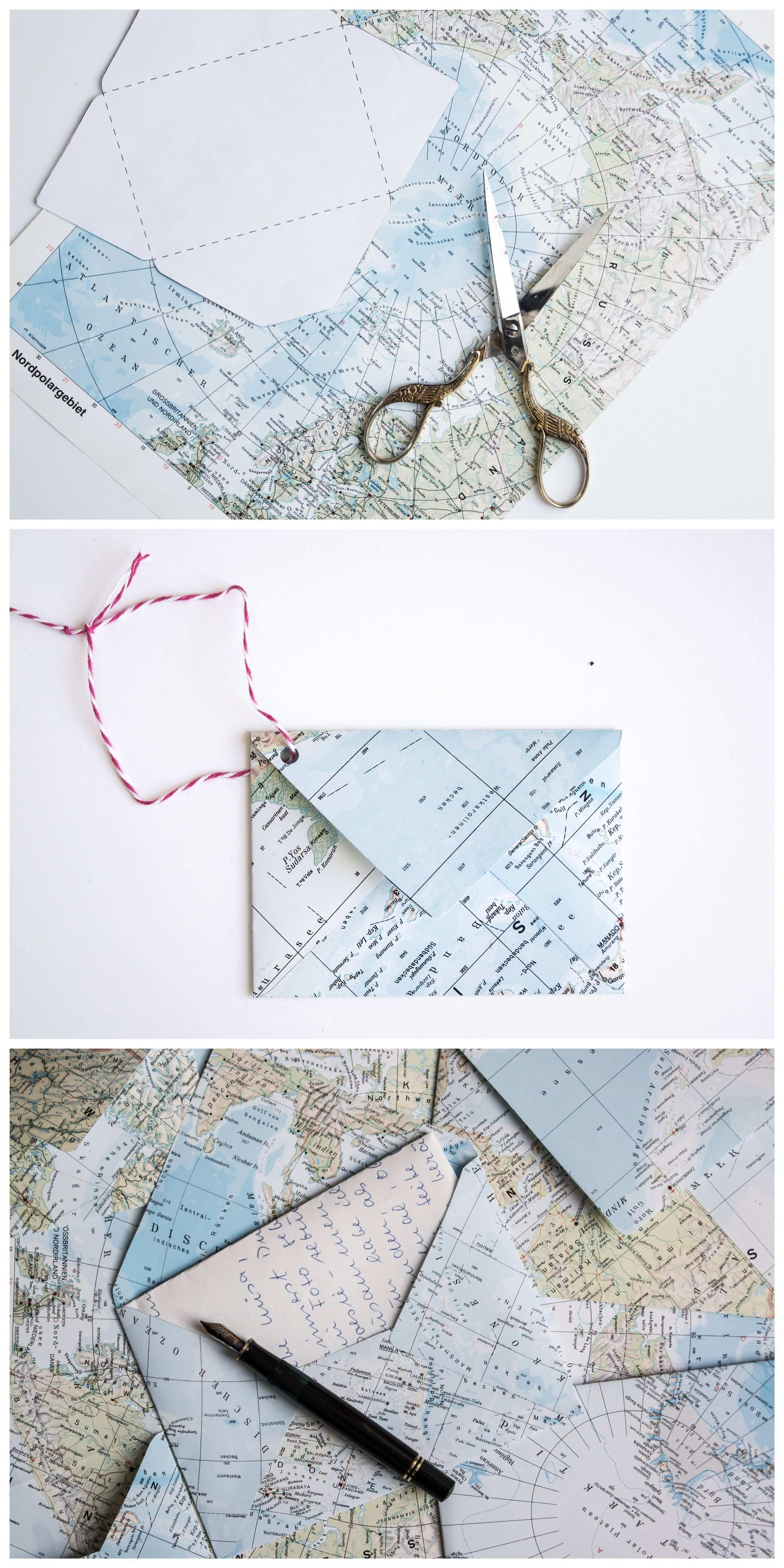 Wie Du Aus Einer Atlas Seite Einen Briefumschlag Falten Kannst Briefumschlag Falten Briefumschlag Basteln Diy Umschlag