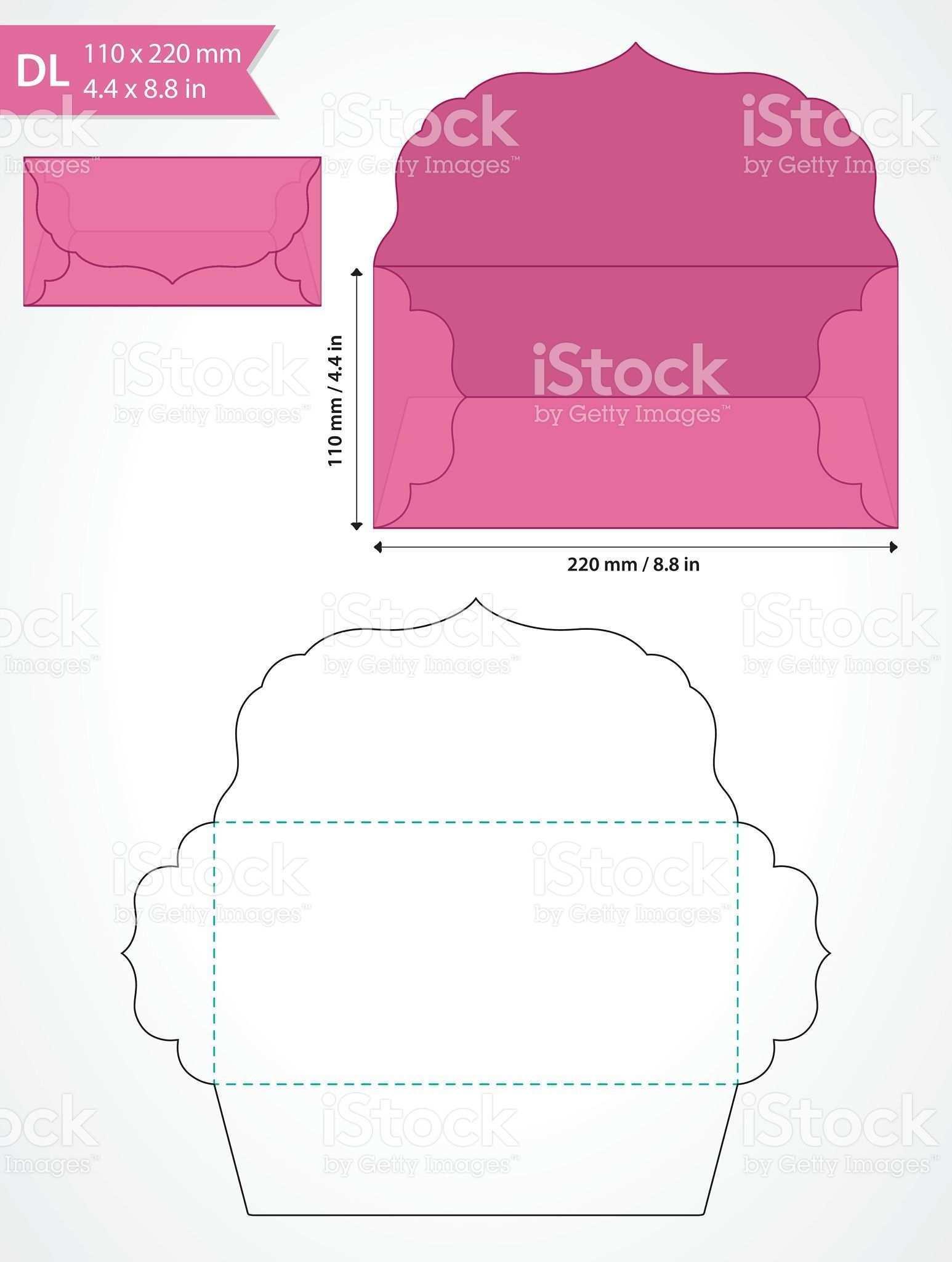 Vector Envelope Template With Swirly Flap For Wedding Invitation Briefumschlag Basteln Vorlage Umschlag Basteln Gutschein Umschlag Basteln
