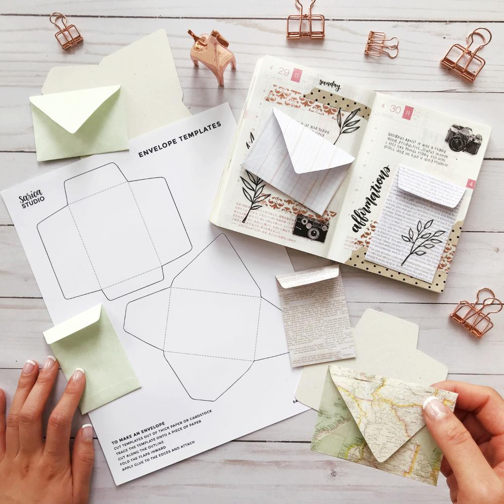 Werbegeschenk Mini Umschlag Vorlage Zum Ausdrucken Sarica Studio In 2020 Ausdruckbare Vorlagen Umschlag Buch Briefumschlag Basteln
