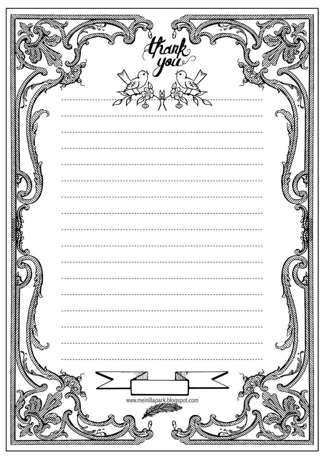 Free Printable Thank You Writing Paper Ausruckbares Briefpapier Freebie Briefpapier Vorlage Briefpapier Briefpapier Zum Ausdrucken