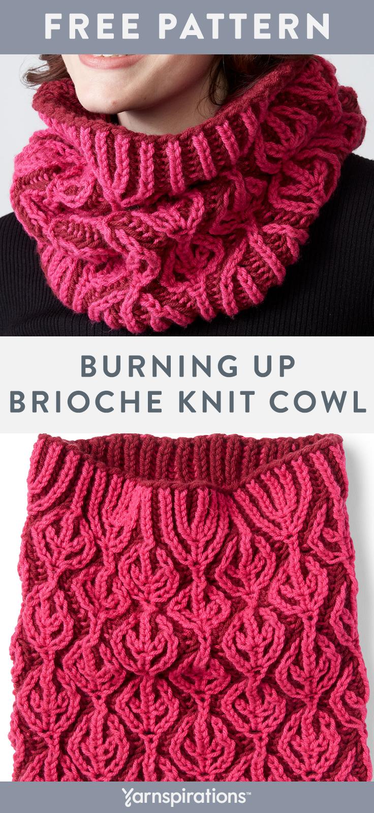 Caron Burning Up Crioche Knit Cowl Burning Caron Cowl Crioche Knit In 2020 Brioche Knitting Patterns Colorwork Knitting Colorwork Knitting Patterns