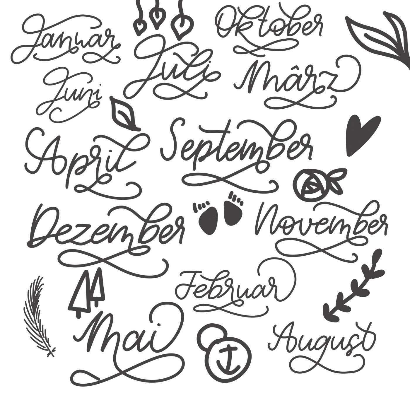 Lettering Monate Brushlettering Handlettering Inspiration Vorlagen Kalender Vorlagen Diy Lettering Handlettering Vorlagen