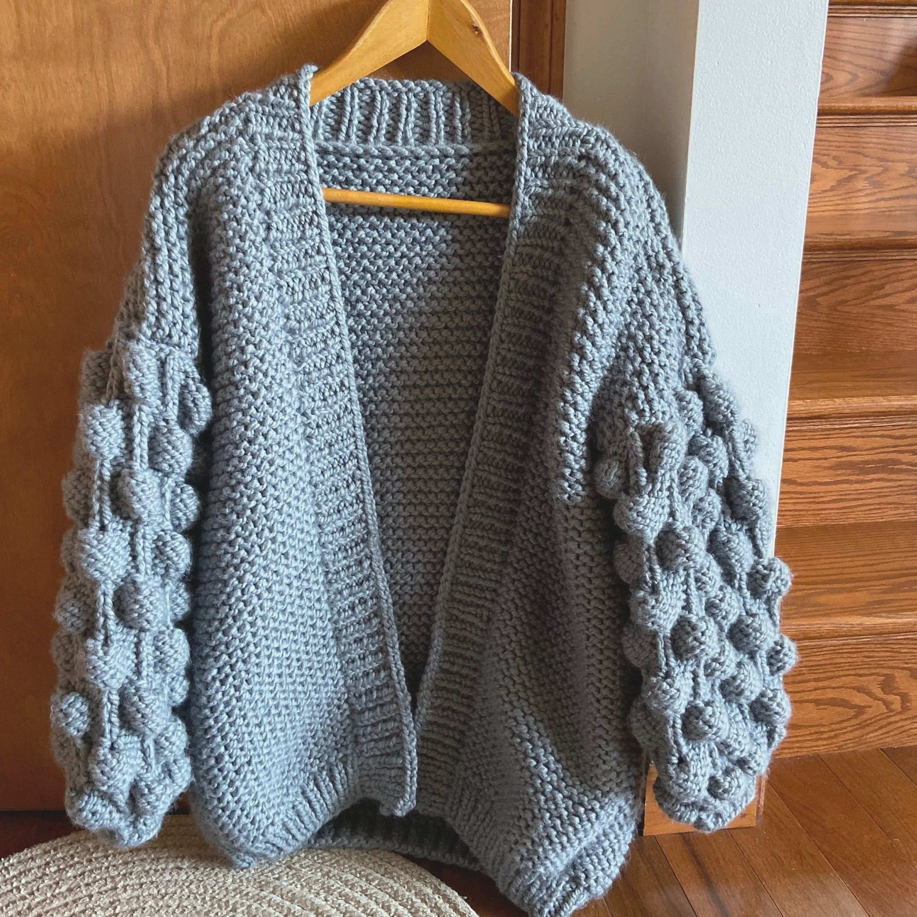 Bubble Sleeve Cardigan Knitting Pattern Baby Chunky Cardigan For Women Hitting Coat Ey Cardigan In 2020 Grobe Strickmuster Pullovermuster Strickjacke Muster