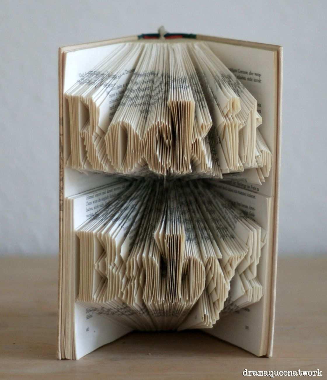3d Book Art Worter In Bucher Falten Bucher Falten Bucher Falten Vorlage Bucher Falten Anleitung