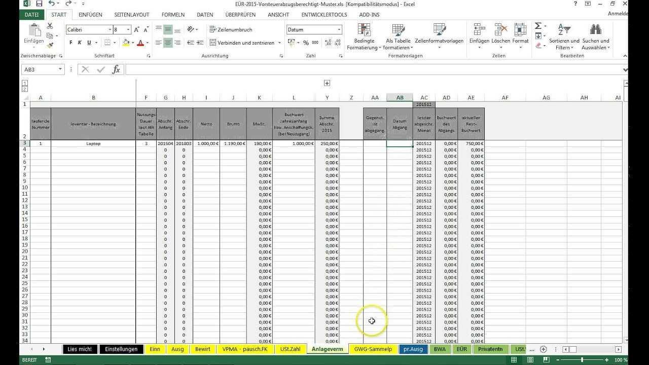 Einfuhrung Excel Vorlage Einnahmenuberschussrechnung Eur Youtube