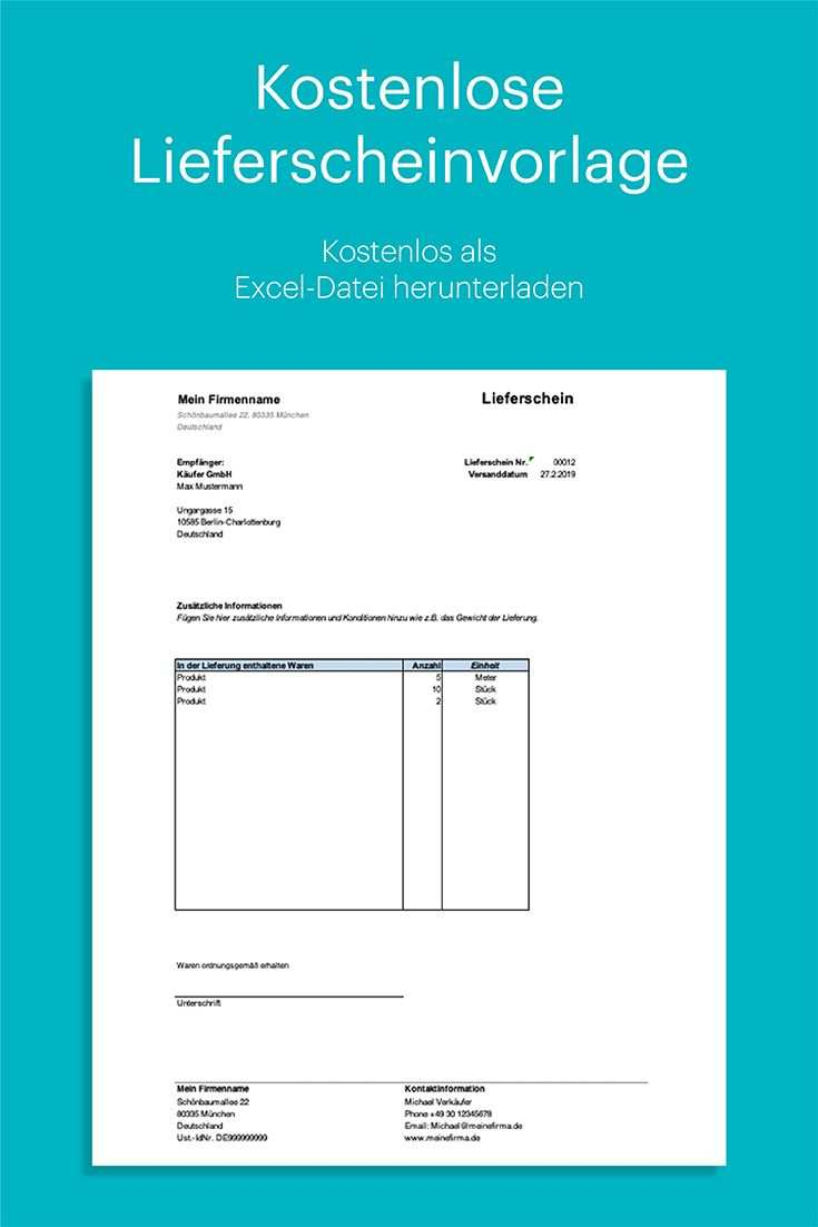 Kostenlose Lieferscheinvorlage In Excel Mit Anleitung Vorlagen Fahrtenbuch Rechnungsvorlage