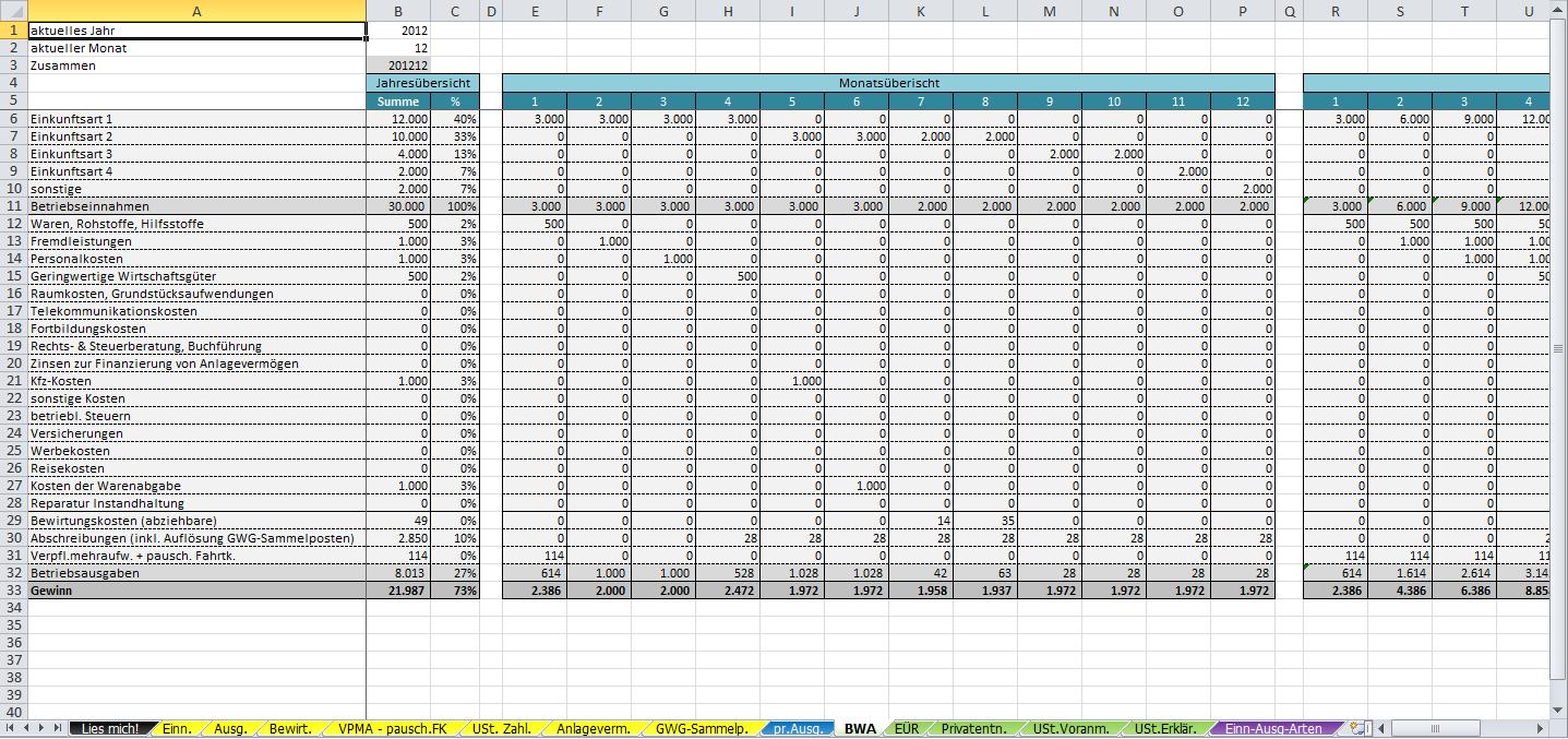 Excel Vorlage Einnahmenuberschussrechnung Eur 2013 Pierre Tunger