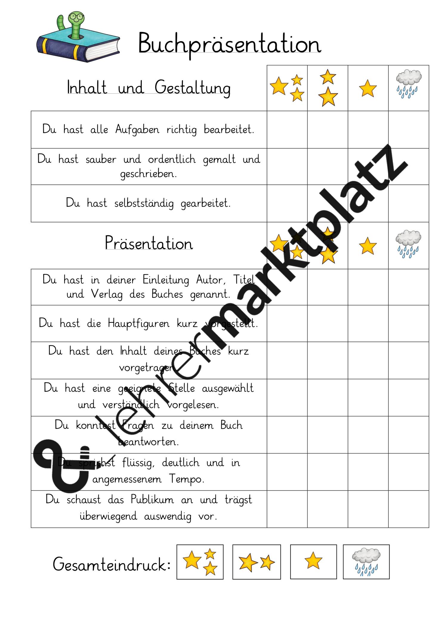 Buchprasentation Bewertungsraster Unterrichtsmaterial Im Fach Deutsch Buchvorstellung Grundschule Lesen Lernen Unterrichtsmaterial