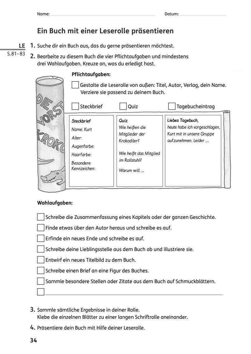 Eine Leserolle Gestalten Und Prasentieren Zebrafanclub Der Blog Zum Lehrwerk Leserolle Buchvorstellung Grundschule Buchvorstellung