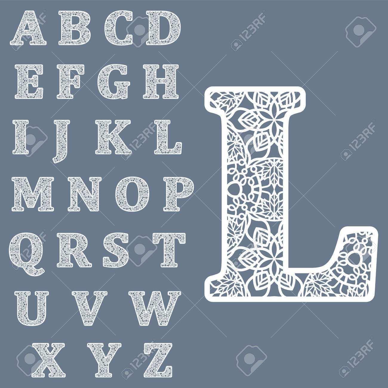 Vorlagen Zum Ausschneiden Von Buchstaben Volles Englisches Alphabet Kann Zum Laserschneiden Verwendet Werden Fancy Spitze Buchstaben Lizenzfrei Nutzbare Vektorgrafiken Clip Arts Illustrationen Image 68092862