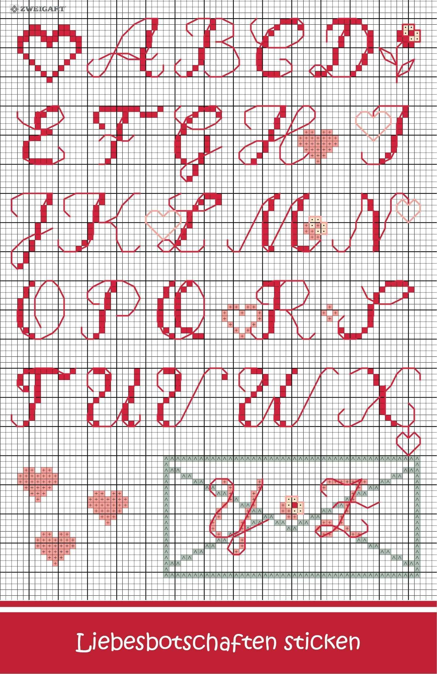 Romantisches Alphabet Mit Herzen Sticken Zweigart Sawitzki Gmbh Co Kg Alphabet Sticken Buchstaben Sticken Sticken Kreuzstich