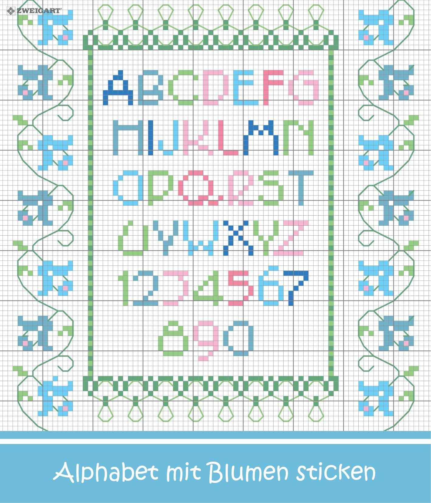 Zartes Blumen Alphabet Sticken Entdecke Zahlreiche Kostenlose Charts Zum Sticken Alphabet Sticken Buchstaben Sticken Sticken