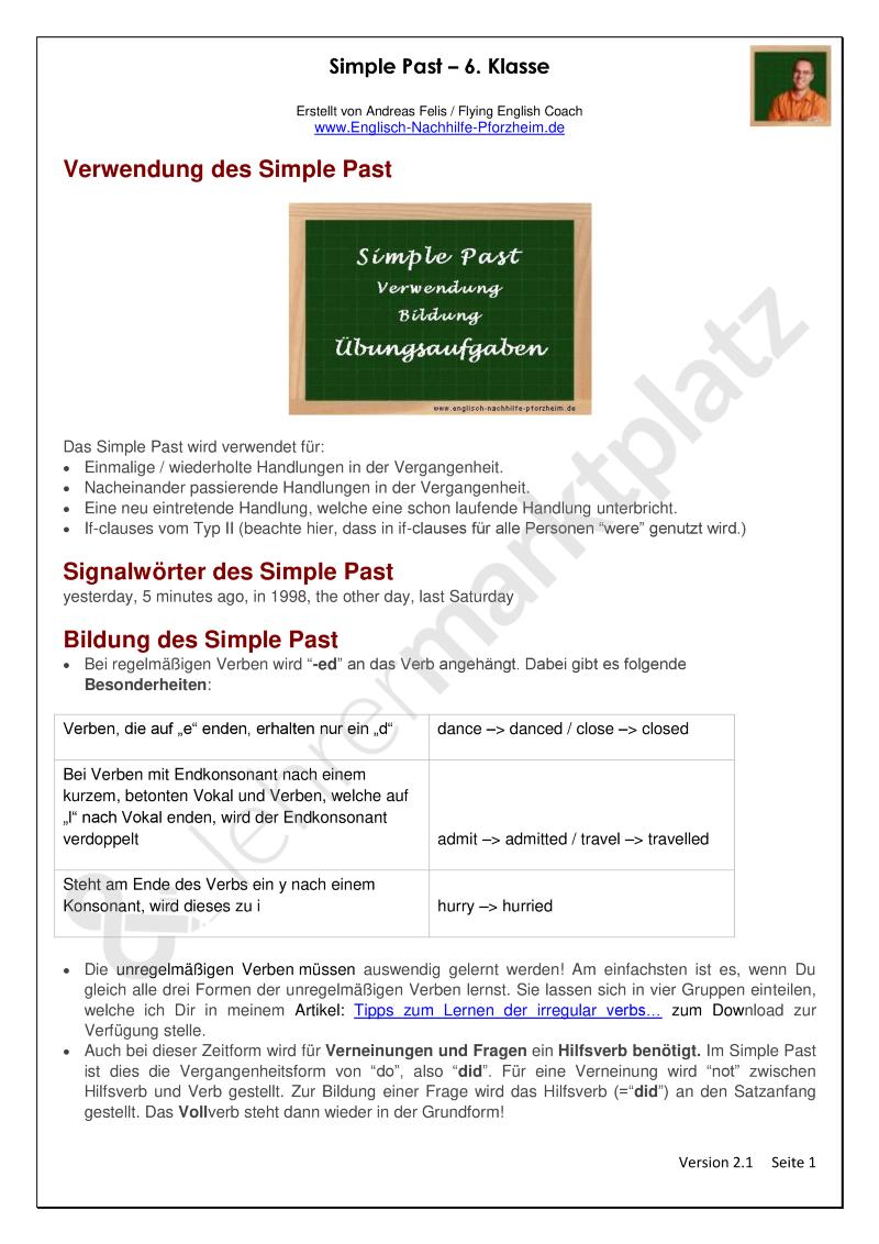 Simple Past Arbeitsblatter Mit Losungen 6 Klasse Englisch Nachhilfe Lehrmaterial Lehrmittel