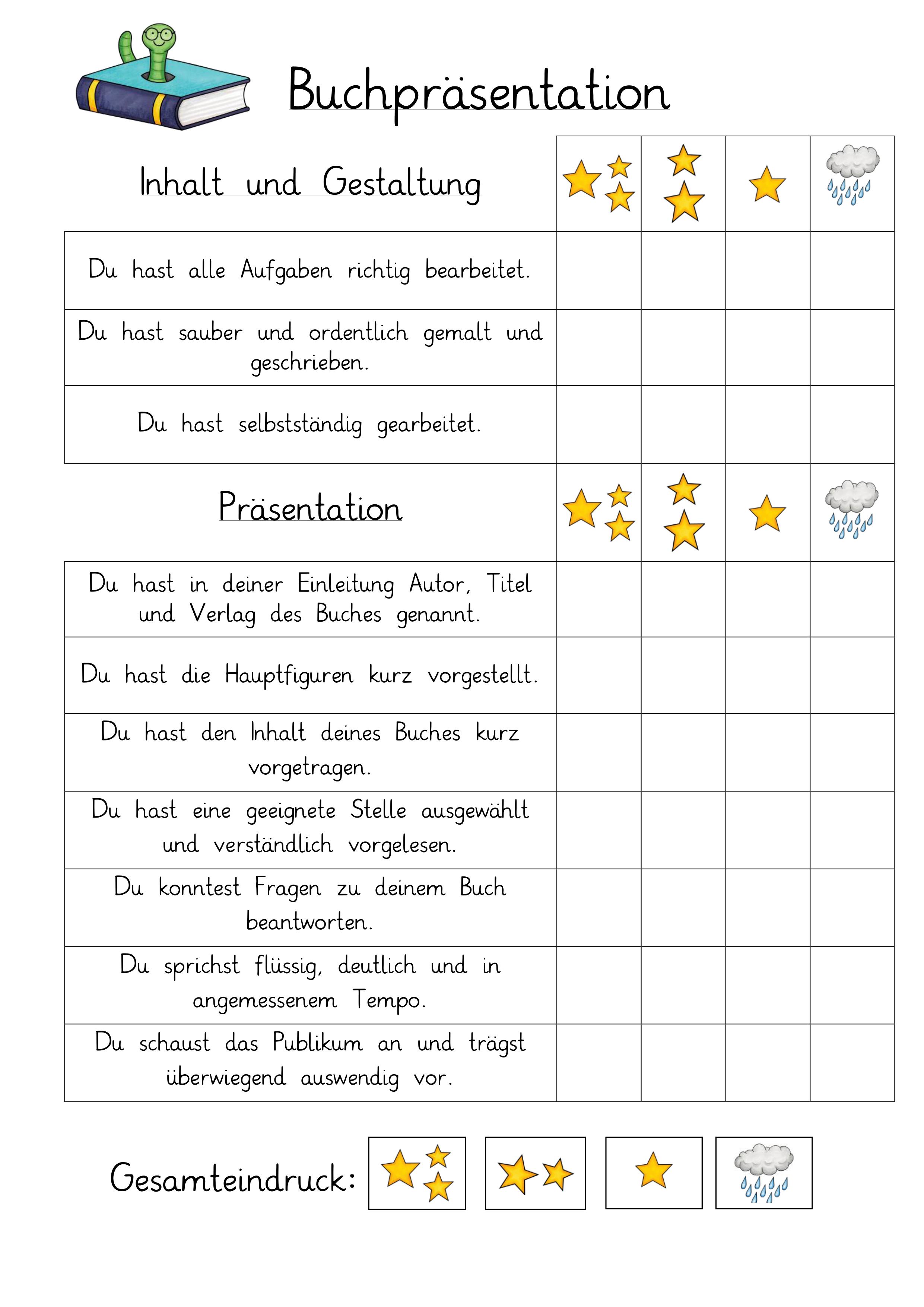 Buchprasentation Bewertungsraster Unterrichtsmaterial Im Fach Deutsch Lernen Tipps Schule Buchvorstellung Grundschule Unterricht Lesen
