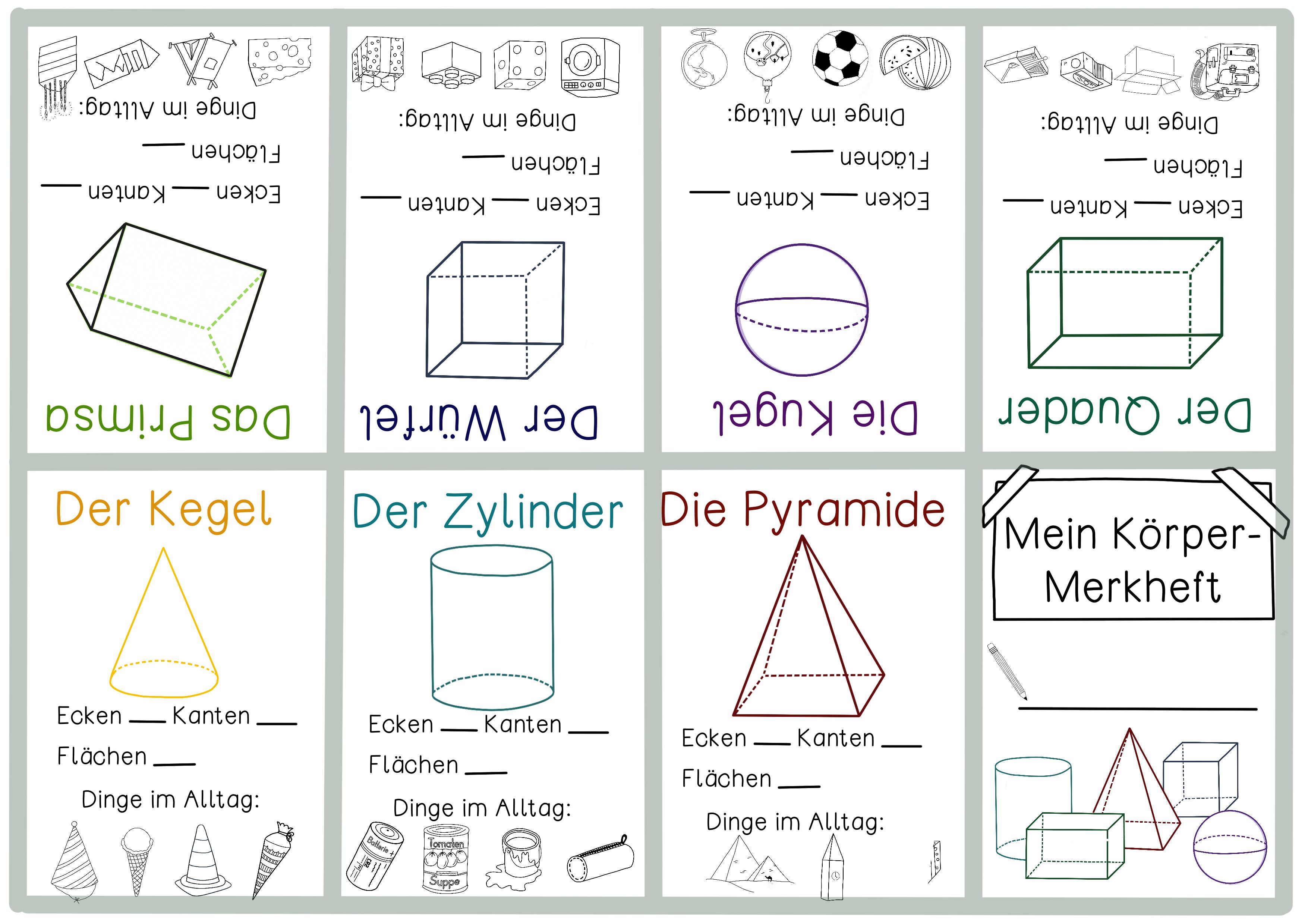 Geometrische Korper Merkheft Zum Falten Korper Zuordnen Mit Bastelanleitung Unterrichtsmaterial Geometrische Korper Geometrie Korper Unterrichtsmaterial