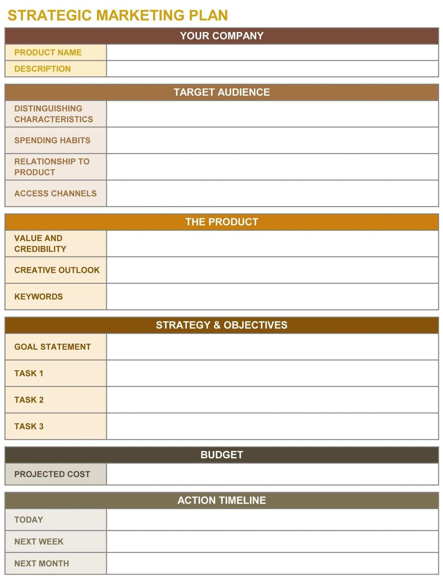 Strategic Marketing Plan Template Strategic Planning Template Strategic Marketing Plan Marketing Strategy Template