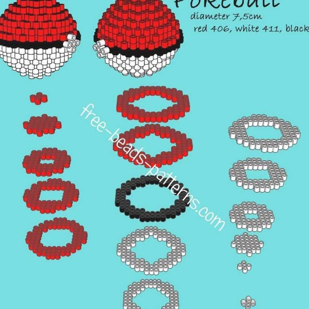 Pokeball 3d Perler Beads Hama Beads Playbox Pyssla Pattern Perler Bead Designs Hama Perlen Muster Bugelperlen