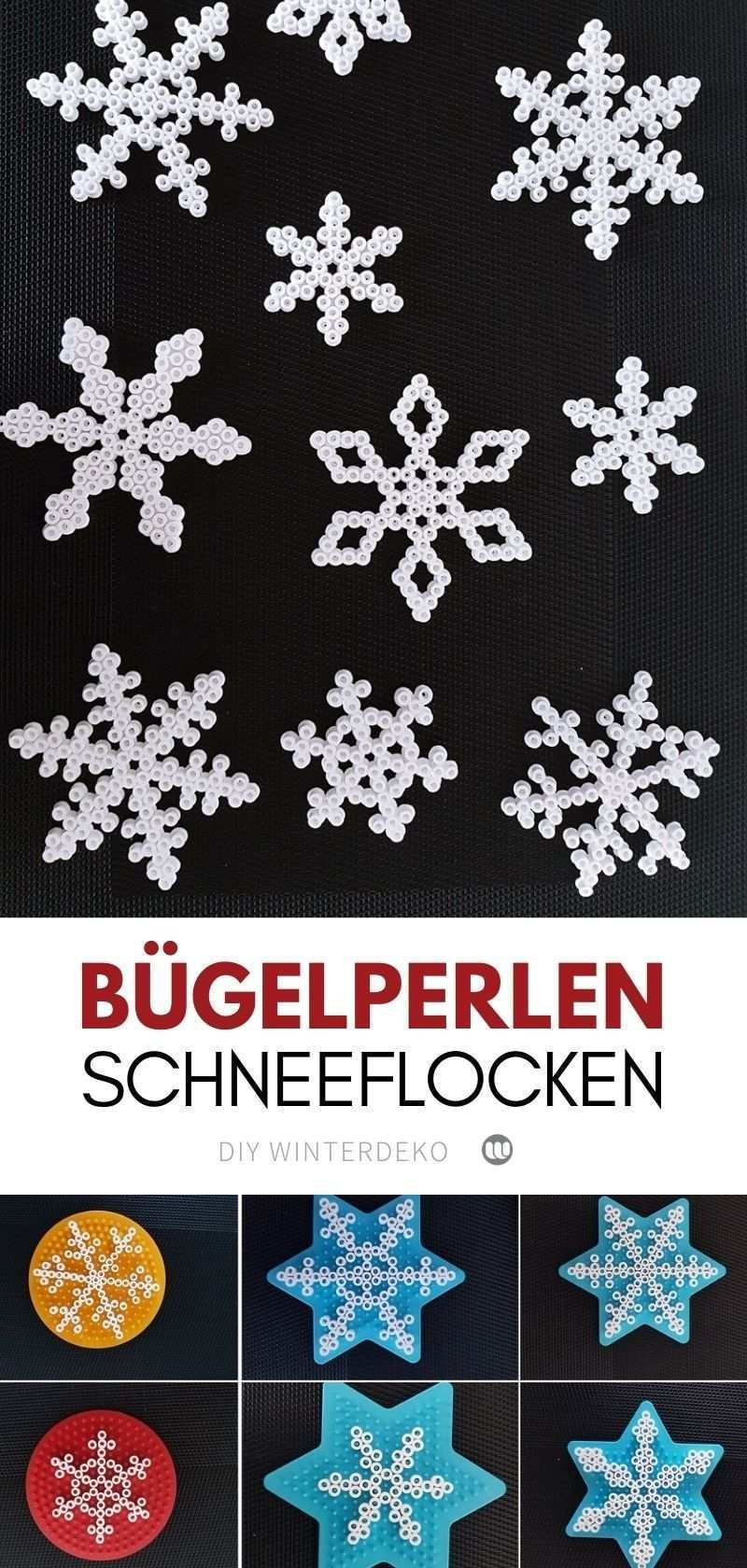 Winterliche Schneeflocken Girlande Aus Bugelperlen Basteln Winterdeko Basteln Weihnachtsmotive Basteln Basteln Anleitung