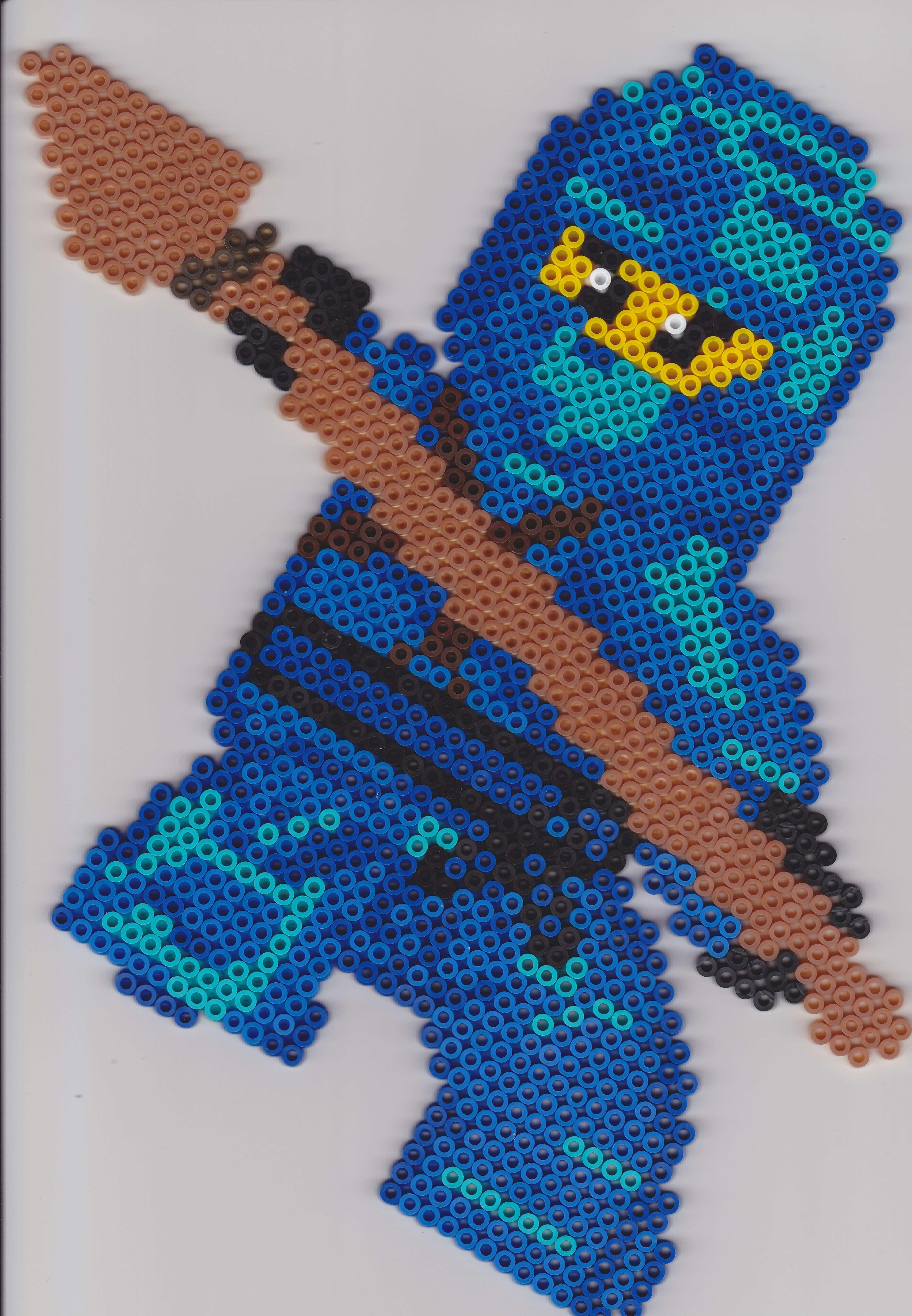 Bugelperlen Ninjago Jay Vorlage Perler Beads Bugelperlen Hama Perlen Muster Hama Bugelperlen