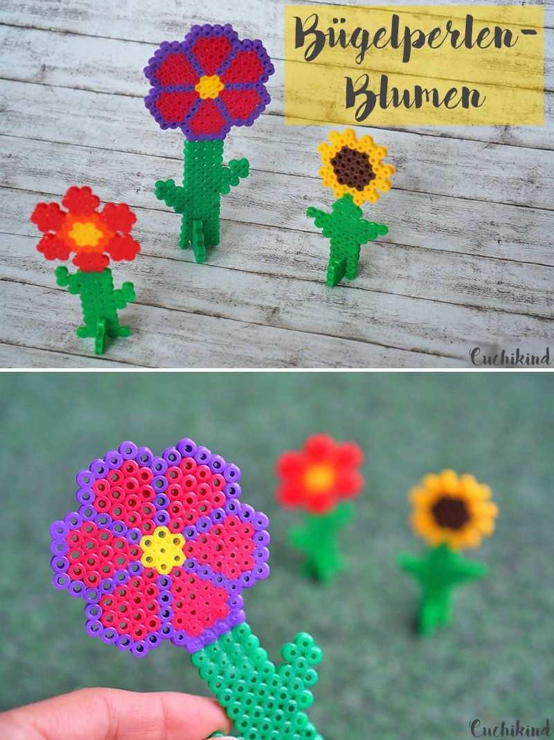 Blumen Aus Bugelperlen Cuchikind Basteln Bugelperlen Bugelperlen Bugelperlen Muster