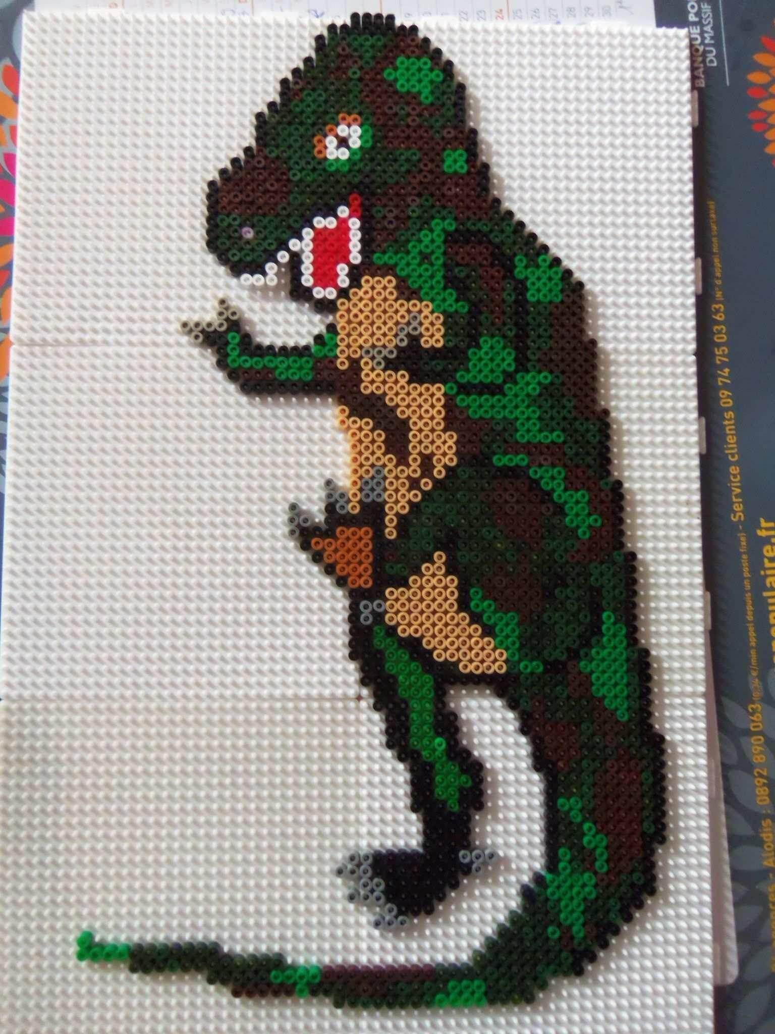 T Rex Dino Bugelperlen Hama Beads By Lalau43 Bugelperlen Kreativ Dinosaurier