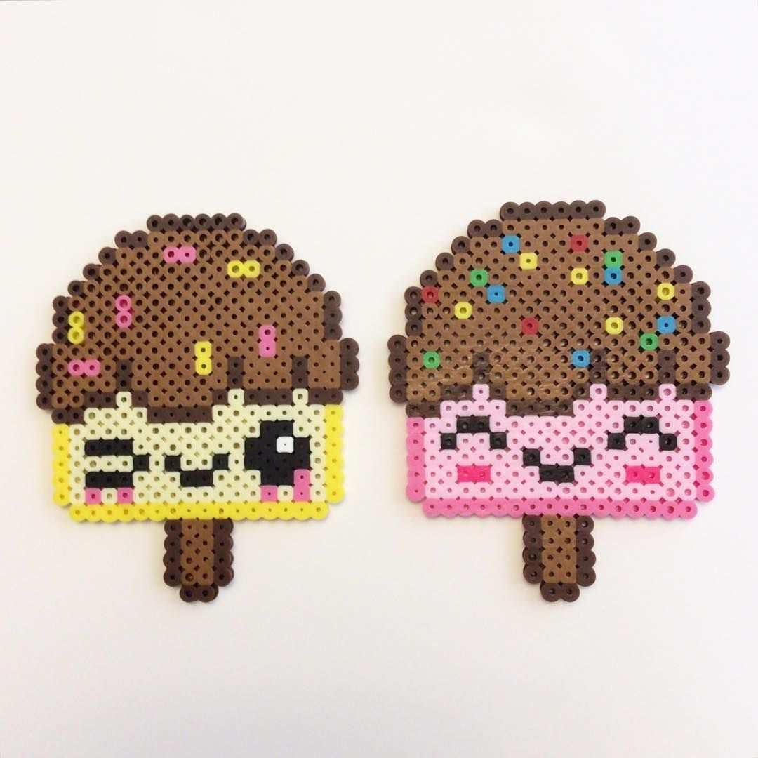Ice Cream Pop Perlers Perler Perlers Icecream Popsicle Icepop Kawaii Cute Beads Beadspri Easy Perler Bead Patterns Hama Beads Patterns Perler Bead Art