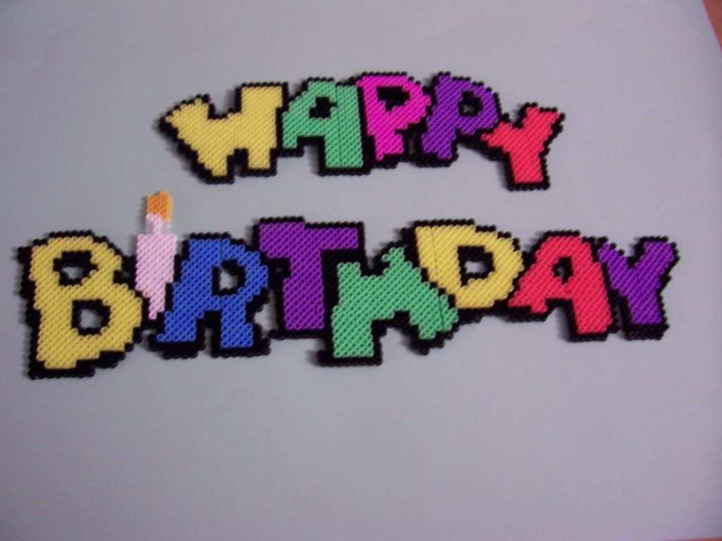 Happy Birthday Hama Beads Patterns Perler Beads Perler Beads Designs