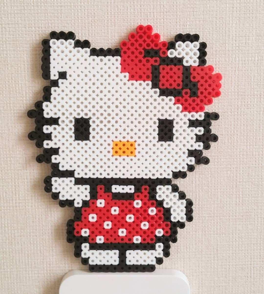 Hello Kitty Template Diseno Molde Plantilla Abalorios Calor Hamma Hama Perler Beads Patterns Perler Bead Art Hama Beads Design Melty Bead Patterns