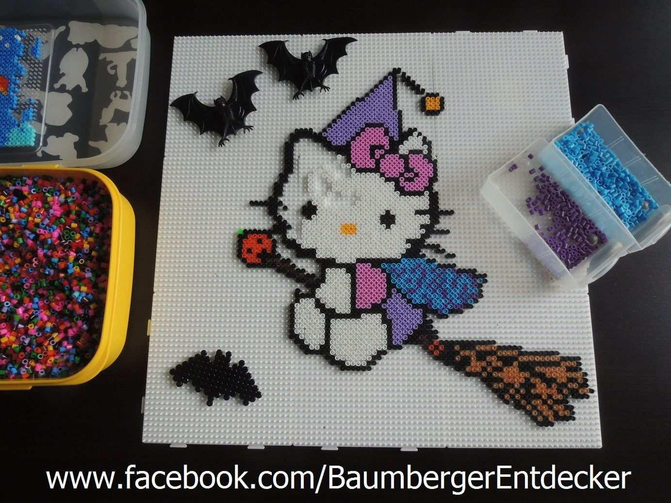 Hello Kitty Hexe Aus Bugelperlen Von Baumberger Entdecker Www Facebook Com Baumbergerentdecker Halloween Bugelperlen Bugelperlen Hello Kitty