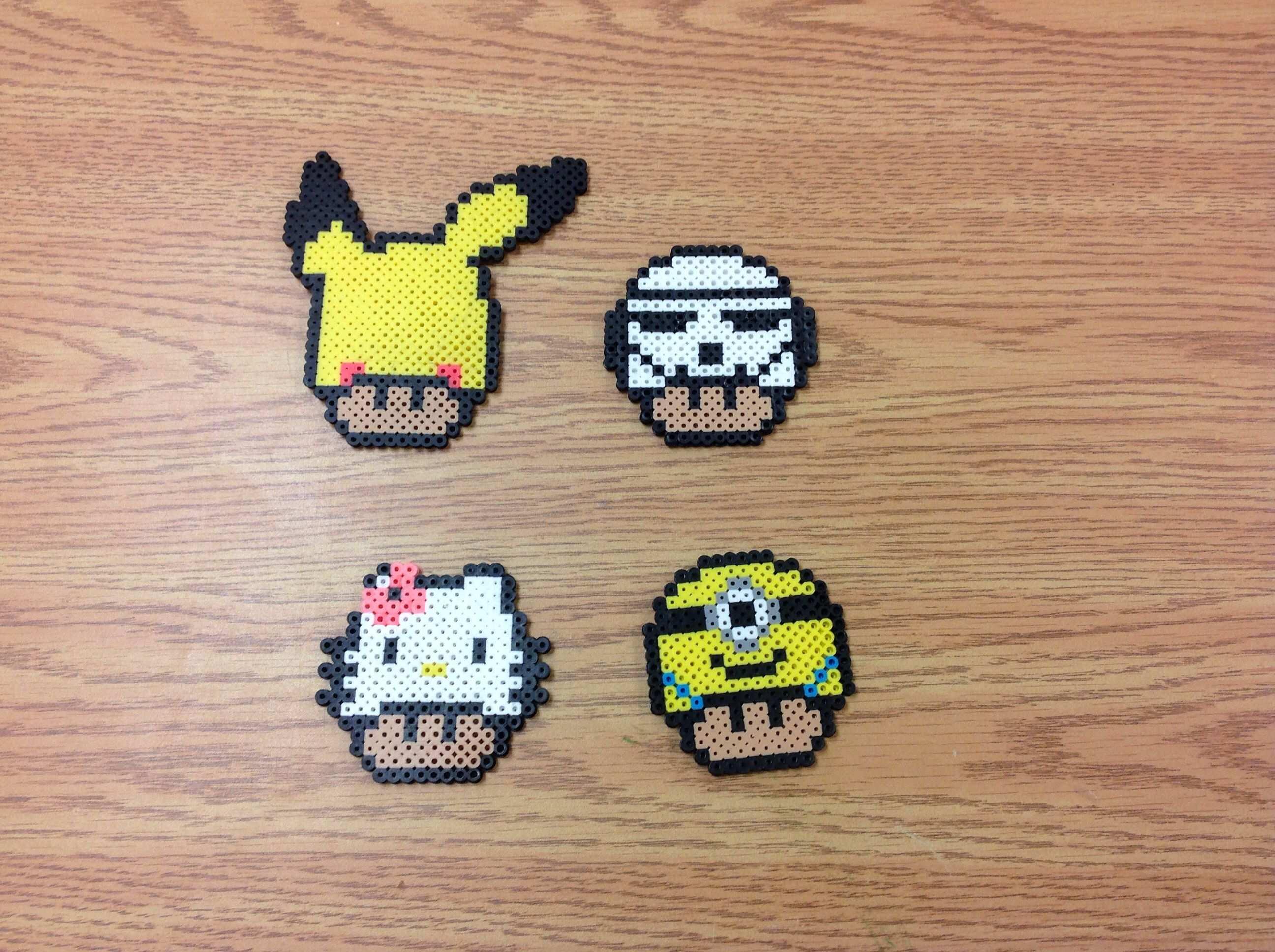 Mushrooms Pikachu Storm Trooper Hello Kitty And Minion Perler Beads By Amanda Collison Perler Bead Mario Perler Patterns Japan Crafts