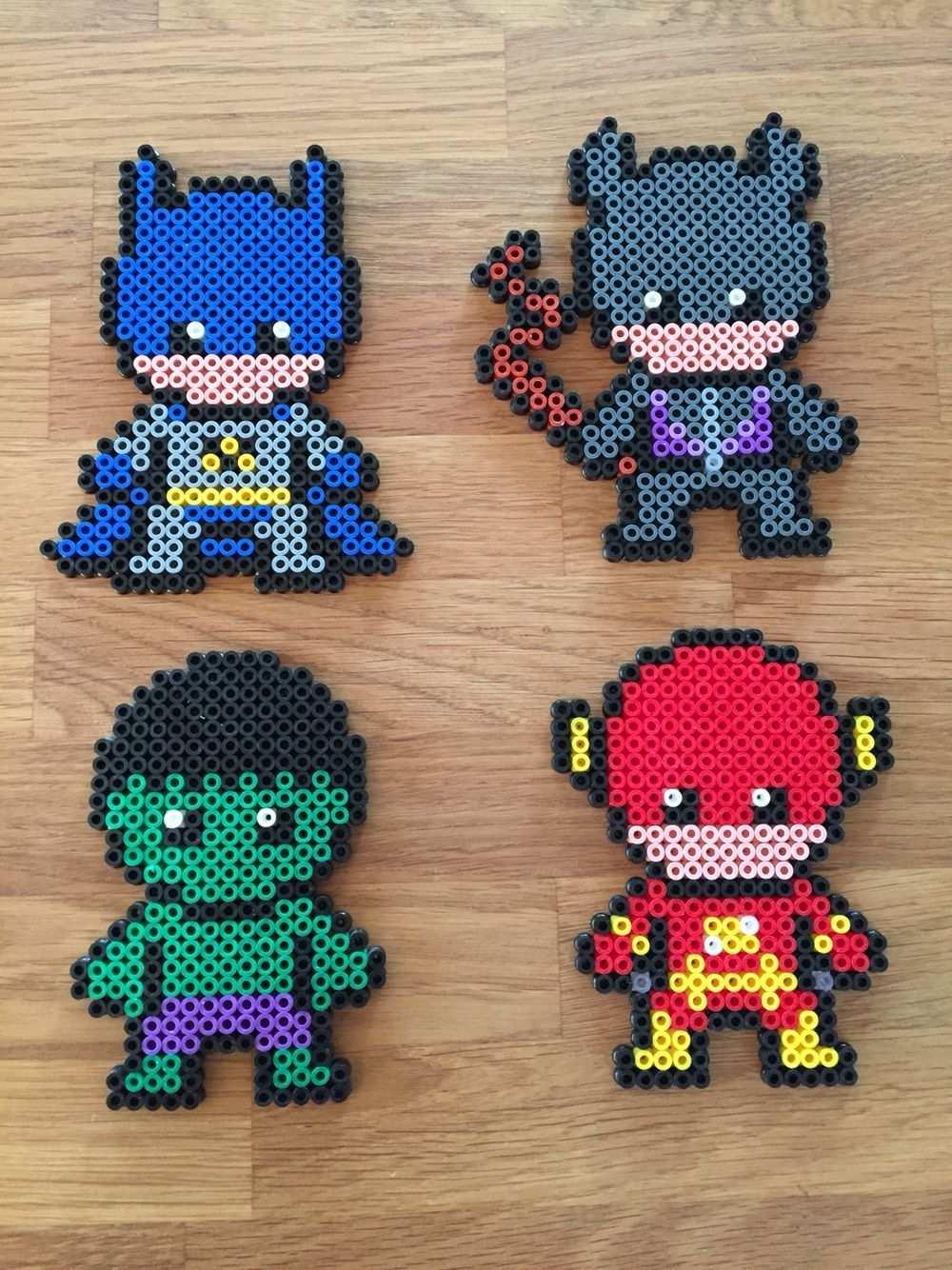 Batman Catwoman Hulk Flash Superheroes Hama Beads Perler Abalorios Hama Plantillas Hama Beads Hama Beads