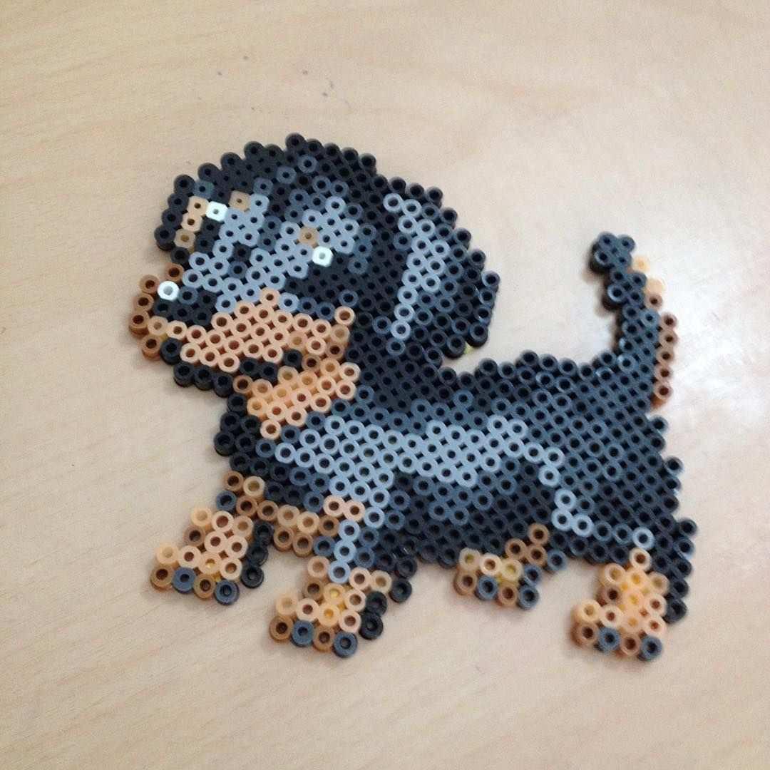 Dachshund Dog Perler Beads By Perler Pelican Bugelperlen Perler Bead Designs Basteln Bugelperlen
