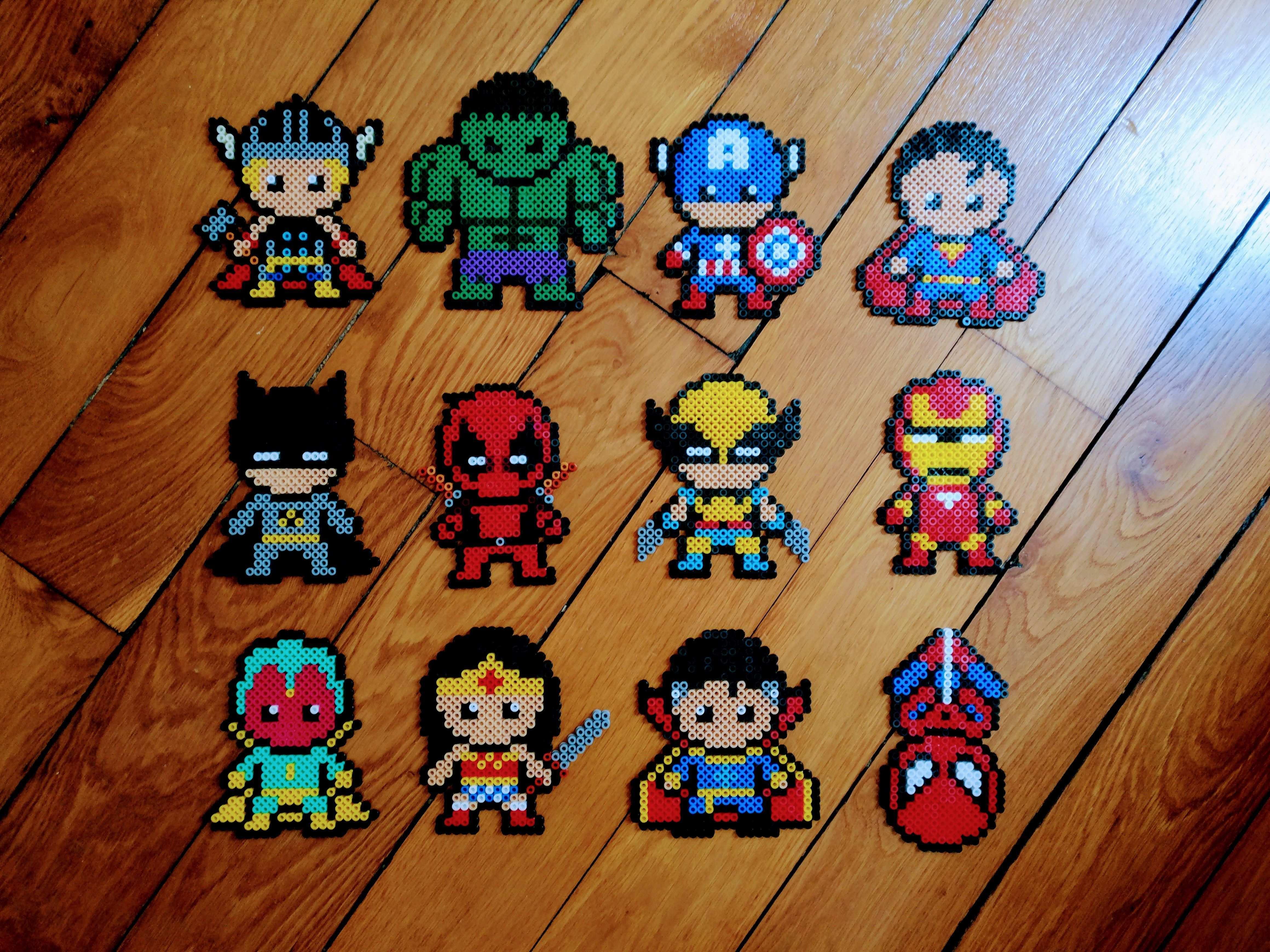 Super Heros En Perles Hama Marvel Dc Cute Ironman Deadpool Batman Perler Bead Disney Hama Beads Patterns Perler Bead Art