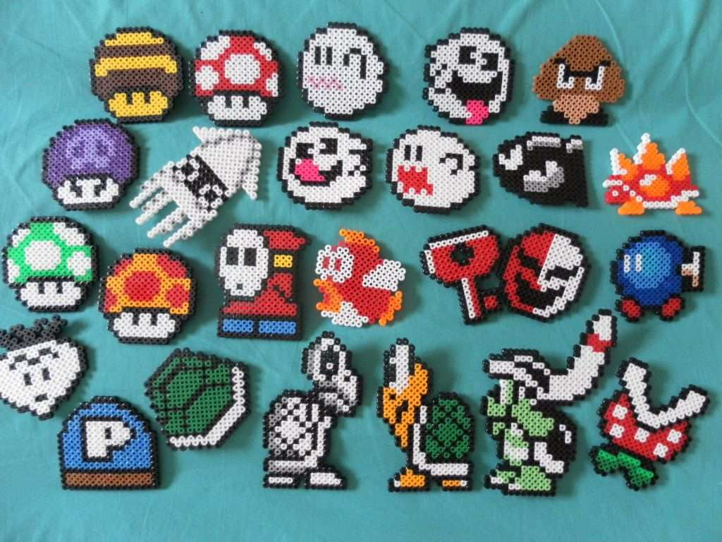 Nintendo Super Mario Perler Bead Magnets Choose Four Perler Bead Patterns Perler Crafts Perler Bead Mario