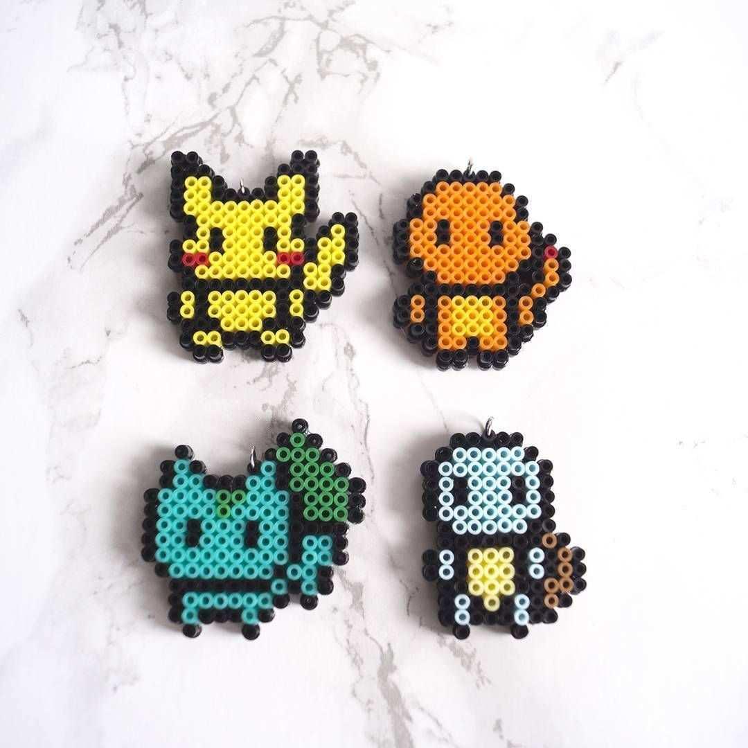 Pokemon Starter Mini Perler Bead Sprites Pikachu Charmander Bulbasaur Squirtle Etsystore Pokemon Start Basteln Bugelperlen Bugelperlen Bugelperlen Pokemon
