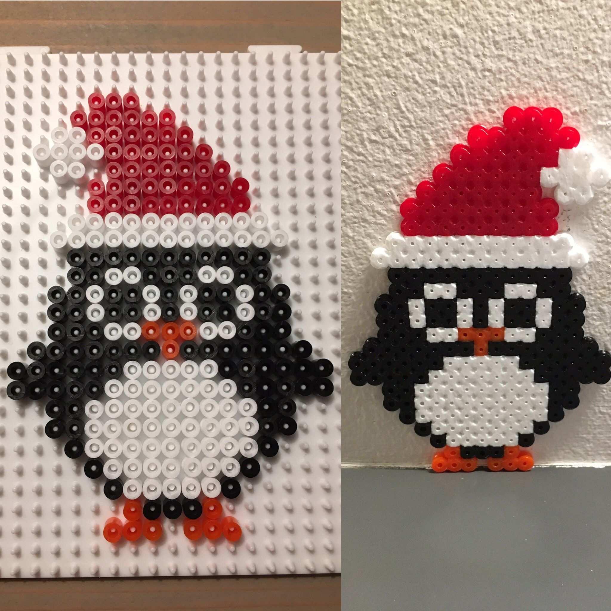 Julepingvin Julepynt Juleperler Pingvin Hamaperler Perler Christmas Perler Beads Hama Beads Christmas Christmas Bead