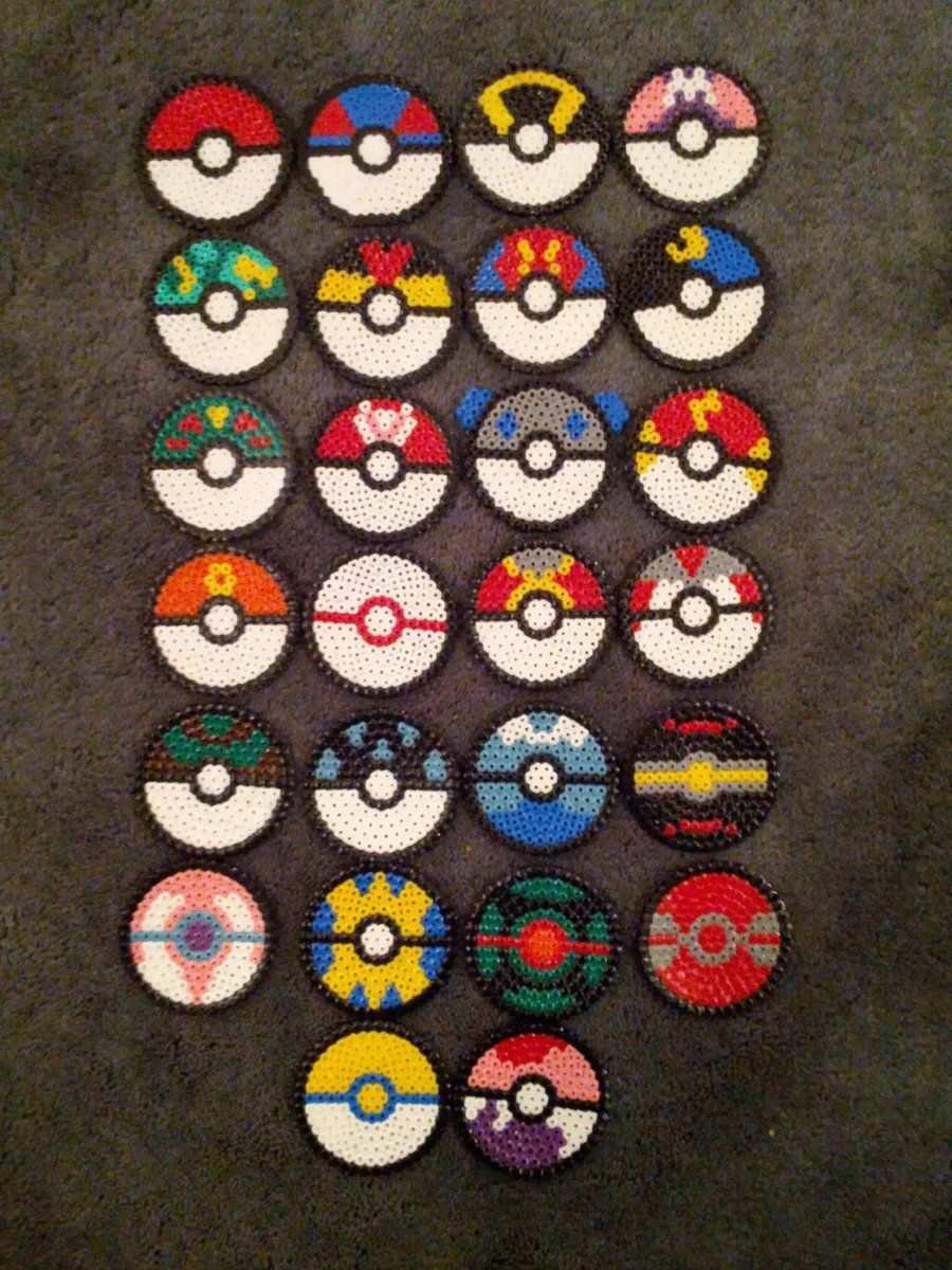 Hama Bead Pokeballs By Mopsy747 Hama Beads Pokemon Hama Beads Patterns Hama Beads