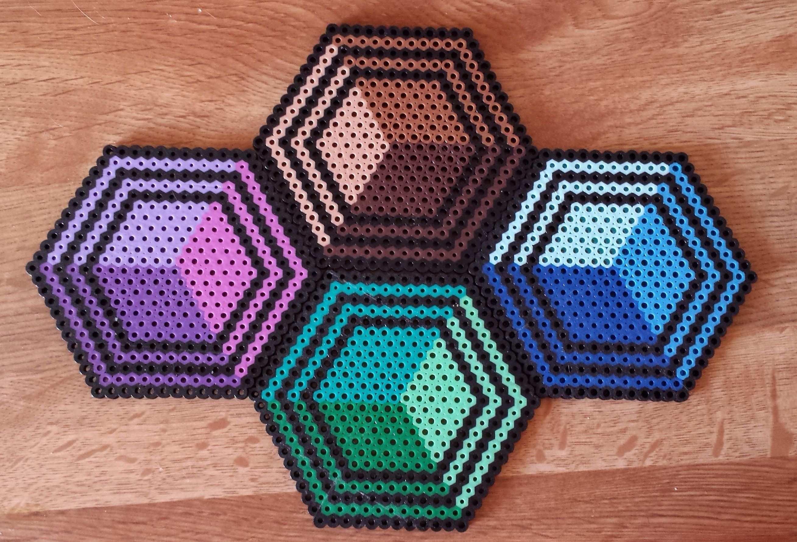 Perler Hexagon Coasters Diy Perler Beads Perler Bead Templates Hama Beads Design