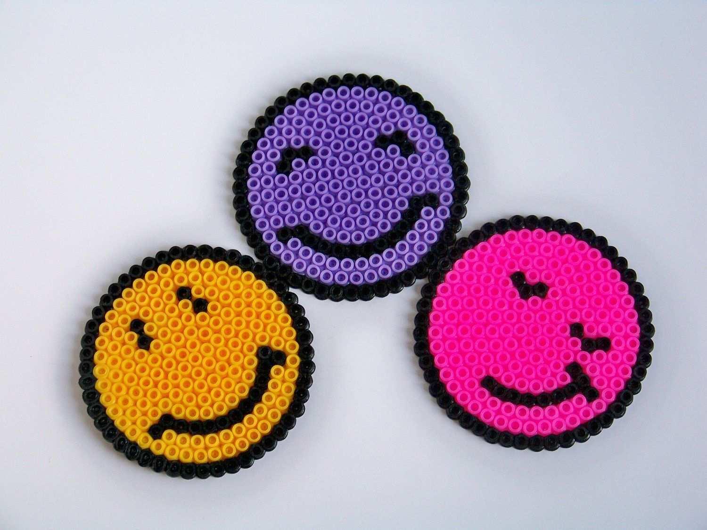 Smiley Hama Coasters Hama Beads Design Perler Bead Art Hama Beads Patterns