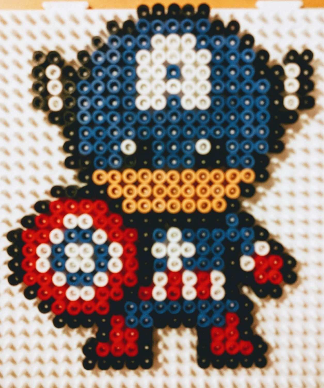 Captain America Perleshama Beads Hama Beads Design Fuse Bead Patterns Perler Bead Patterns